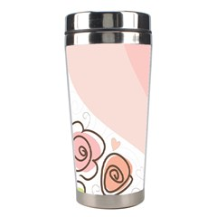 Flower Sunflower Wave Waves Pink Stainless Steel Travel Tumblers by Mariart