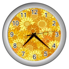 Flower Sunflower Floral Beauty Sexy Wall Clocks (silver)  by Mariart