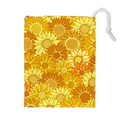 Flower Sunflower Floral Beauty Sexy Drawstring Pouches (extra Large) by Mariart