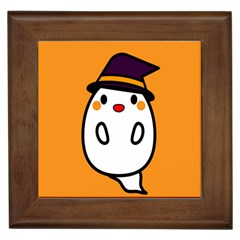 Halloween Ghost Orange Framed Tiles by Mariart