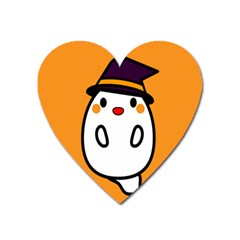 Halloween Ghost Orange Heart Magnet by Mariart