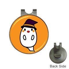 Halloween Ghost Orange Hat Clips With Golf Markers by Mariart