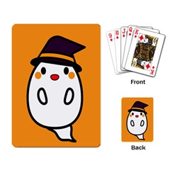 Halloween Ghost Orange Playing Card by Mariart