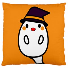 Halloween Ghost Orange Large Cushion Case (one Side) by Mariart