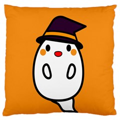 Halloween Ghost Orange Large Flano Cushion Case (one Side) by Mariart