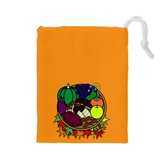 Healthy Vegetables Food Drawstring Pouches (large)  by Mariart