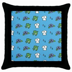 Frog Ghost Rain Flower Green Animals Throw Pillow Case (black) by Mariart