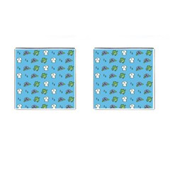 Frog Ghost Rain Flower Green Animals Cufflinks (square) by Mariart