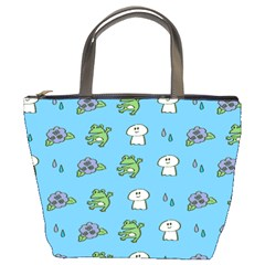 Frog Ghost Rain Flower Green Animals Bucket Bags