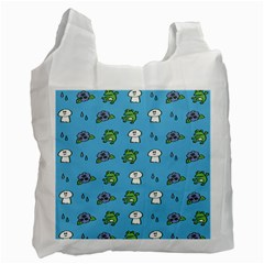 Frog Ghost Rain Flower Green Animals Recycle Bag (one Side) by Mariart