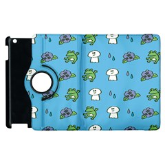 Frog Ghost Rain Flower Green Animals Apple Ipad 3/4 Flip 360 Case by Mariart
