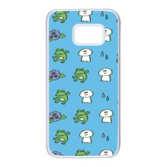 Frog Ghost Rain Flower Green Animals Samsung Galaxy S7 White Seamless Case by Mariart