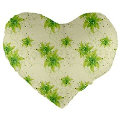 Leaf Green Star Beauty Large 19  Premium Heart Shape Cushions by Mariart