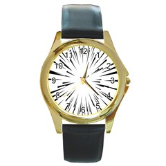 Line Black Sun Arrow Round Gold Metal Watch by Mariart