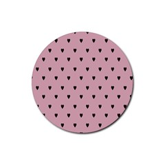 Love Black Pink Valentine Rubber Round Coaster (4 Pack)  by Mariart