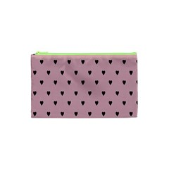 Love Black Pink Valentine Cosmetic Bag (xs) by Mariart