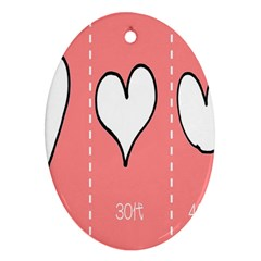 Love Heart Valentine Pink White Sexy Ornament (oval) by Mariart