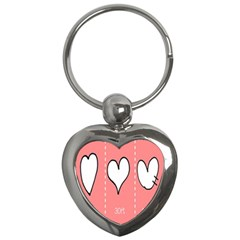Love Heart Valentine Pink White Sexy Key Chains (heart)  by Mariart