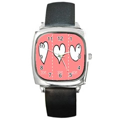Love Heart Valentine Pink White Sexy Square Metal Watch by Mariart