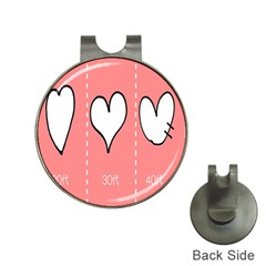 Love Heart Valentine Pink White Sexy Hat Clips With Golf Markers by Mariart