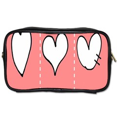 Love Heart Valentine Pink White Sexy Toiletries Bags by Mariart