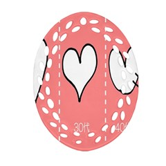 Love Heart Valentine Pink White Sexy Oval Filigree Ornament (two Sides) by Mariart