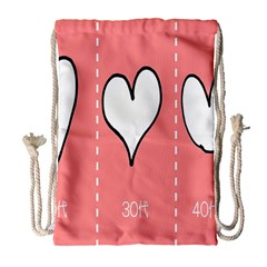 Love Heart Valentine Pink White Sexy Drawstring Bag (large) by Mariart