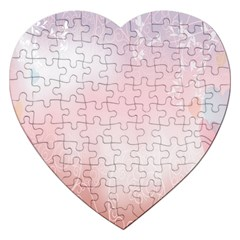 Love Heart Pink Valentine Flower Leaf Jigsaw Puzzle (heart) by Mariart
