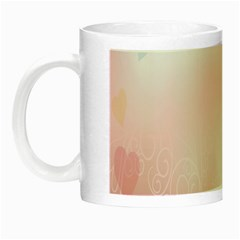Love Heart Pink Valentine Flower Leaf Night Luminous Mugs by Mariart