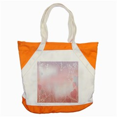 Love Heart Pink Valentine Flower Leaf Accent Tote Bag by Mariart