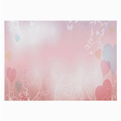 Love Heart Pink Valentine Flower Leaf Large Glasses Cloth