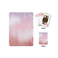 Love Heart Pink Valentine Flower Leaf Playing Cards (mini)  by Mariart