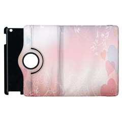 Love Heart Pink Valentine Flower Leaf Apple Ipad 3/4 Flip 360 Case by Mariart