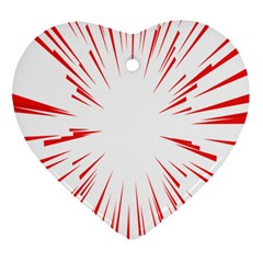 Line Red Sun Arrow Heart Ornament (two Sides) by Mariart