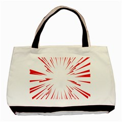 Line Red Sun Arrow Basic Tote Bag (two Sides) by Mariart
