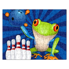 Tree Frog Bowling Rectangular Jigsaw Puzzl by crcustomgifts