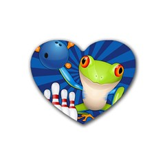 Tree Frog Bowling Rubber Coaster (heart)  by crcustomgifts