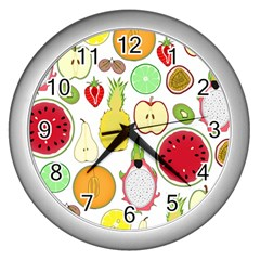 Mango Fruit Pieces Watermelon Dragon Passion Fruit Apple Strawberry Pineapple Melon Wall Clocks (silver)  by Mariart