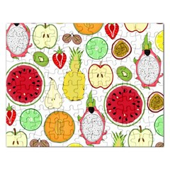 Mango Fruit Pieces Watermelon Dragon Passion Fruit Apple Strawberry Pineapple Melon Rectangular Jigsaw Puzzl by Mariart