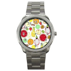 Mango Fruit Pieces Watermelon Dragon Passion Fruit Apple Strawberry Pineapple Melon Sport Metal Watch by Mariart