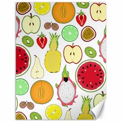Mango Fruit Pieces Watermelon Dragon Passion Fruit Apple Strawberry Pineapple Melon Canvas 12  X 16   by Mariart