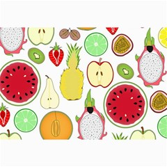 Mango Fruit Pieces Watermelon Dragon Passion Fruit Apple Strawberry Pineapple Melon Canvas 24  X 36  by Mariart