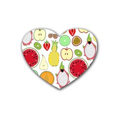 Mango Fruit Pieces Watermelon Dragon Passion Fruit Apple Strawberry Pineapple Melon Rubber Coaster (heart)  by Mariart