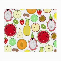 Mango Fruit Pieces Watermelon Dragon Passion Fruit Apple Strawberry Pineapple Melon Small Glasses Cloth (2 Side) by Mariart