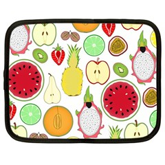 Mango Fruit Pieces Watermelon Dragon Passion Fruit Apple Strawberry Pineapple Melon Netbook Case (large) by Mariart