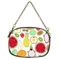Mango Fruit Pieces Watermelon Dragon Passion Fruit Apple Strawberry Pineapple Melon Chain Purses (two Sides)  by Mariart