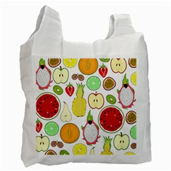 Mango Fruit Pieces Watermelon Dragon Passion Fruit Apple Strawberry Pineapple Melon Recycle Bag (one Side) by Mariart