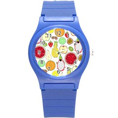 Mango Fruit Pieces Watermelon Dragon Passion Fruit Apple Strawberry Pineapple Melon Round Plastic Sport Watch (s) by Mariart