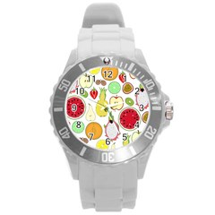 Mango Fruit Pieces Watermelon Dragon Passion Fruit Apple Strawberry Pineapple Melon Round Plastic Sport Watch (l) by Mariart