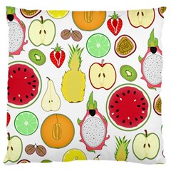 Mango Fruit Pieces Watermelon Dragon Passion Fruit Apple Strawberry Pineapple Melon Large Cushion Case (one Side) by Mariart